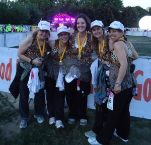 Some of the high-school friends after finishing the London MoonWalk in May 2011.
