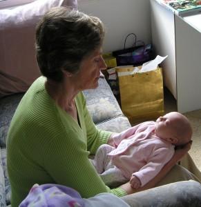 A grandma and granddaughter.