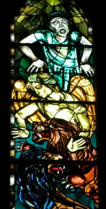 A stained-glass window from Galway Cathedral, depicting some of the unseen realm.