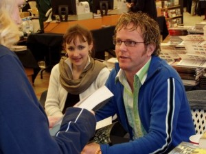 Rob with his lovely colleague Elin Kelly, signing books at Spring Harvest, 2004