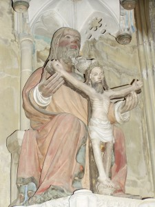 A statue from a cathedral in Germany (sorry, can't remember which one), depicting the Trinity.