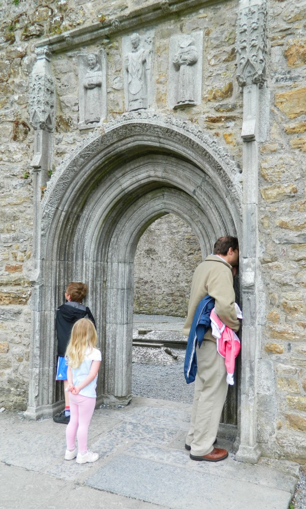 What do you hear? The Whispering Arch at the monastery at Clonmacnoise in the Republic of Ireland. According to legend, here the monks would listen to confessions; the confessor would stand at one end of the arch and the monk on the other side. Only the monk could hear the whispered sins.