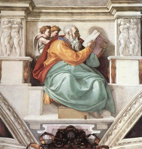 Zechariah as depicted by Michelangelo' on the  ceiling of the Sistine Chapel. Photo by Missional Volunteer as found on flickr.