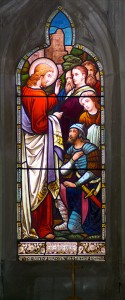 Parish Church of St Michael, Mitcheltroy, Window Jesus and the Centurion whose faith cured his servant. Credit: Keith Moseley, flickr