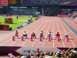 Elite athletes at the London Paralympics 2012.