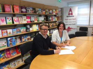 Signing the book contract with Steve Mitchell, MD of Authentic Media. Whoop, whoop!