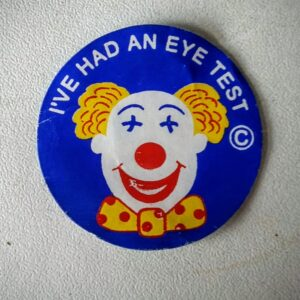 The sticker is actually a bit creepy considering that the clown's eyes are crossed out.