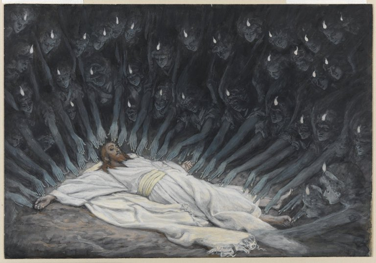 """Brooklyn Museum - Jesus Ministered to by Angels (Jésus assisté par les anges) - James Tissot - Online Collection of Brooklyn Museum"