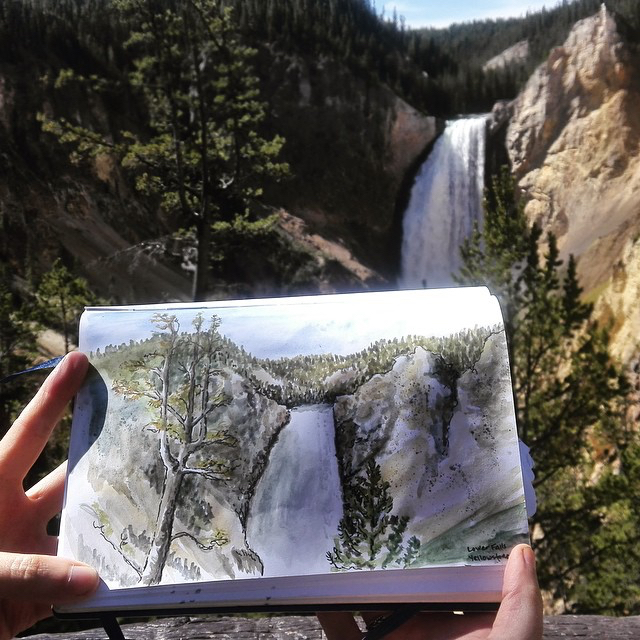 Art in motion - watercolors at Lower Yellowstone Falls.