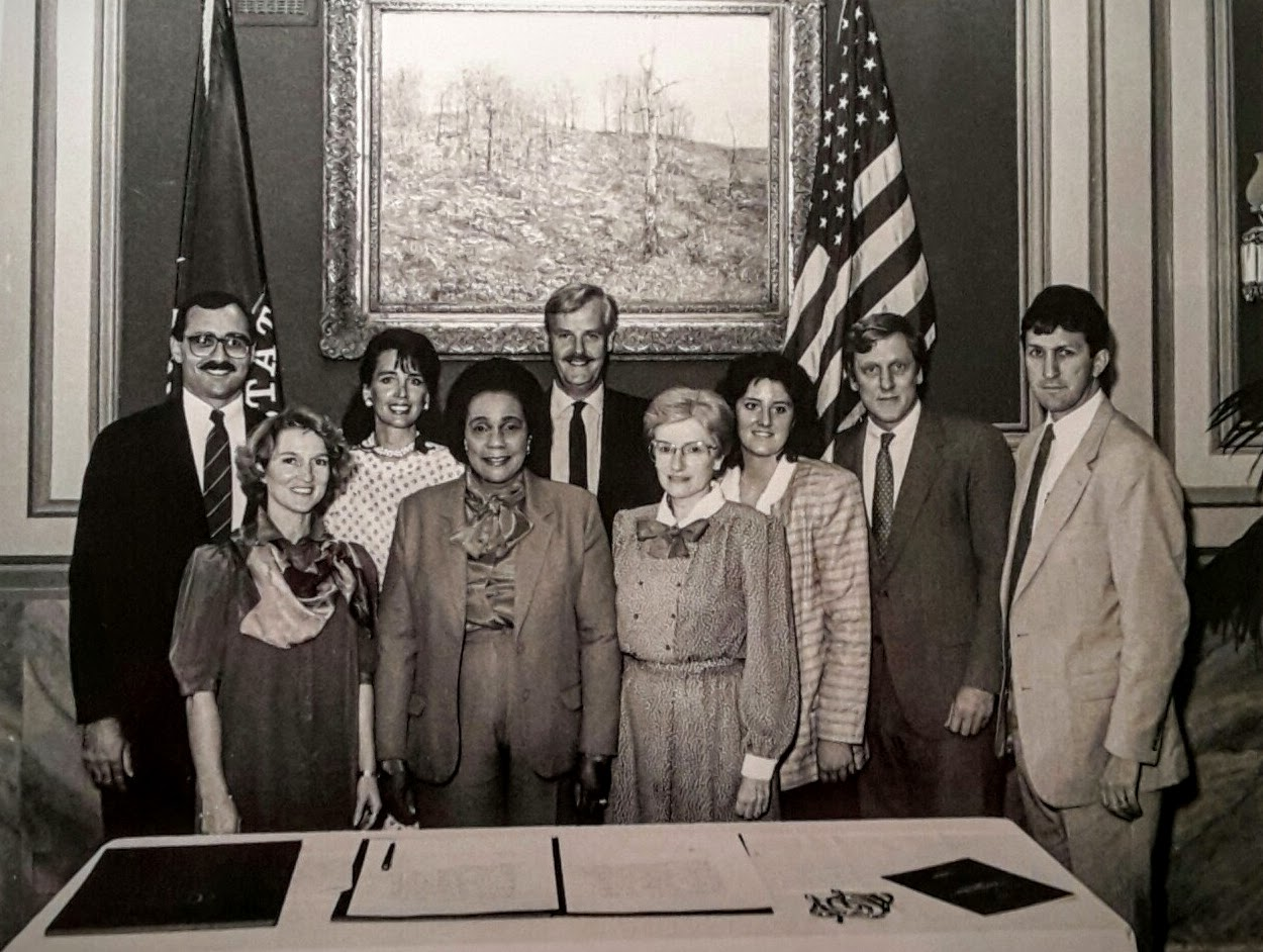The Williamsburg Charter Foundation team, with Coretta Scott King. In the front row, left to right, Sharon Brown, CSK, Lila Williamson; in the back row, John Seel, Jenny Guinness, Os Guinness, me (where was I looking?), Bob Kramer, and Tom McWhertor.