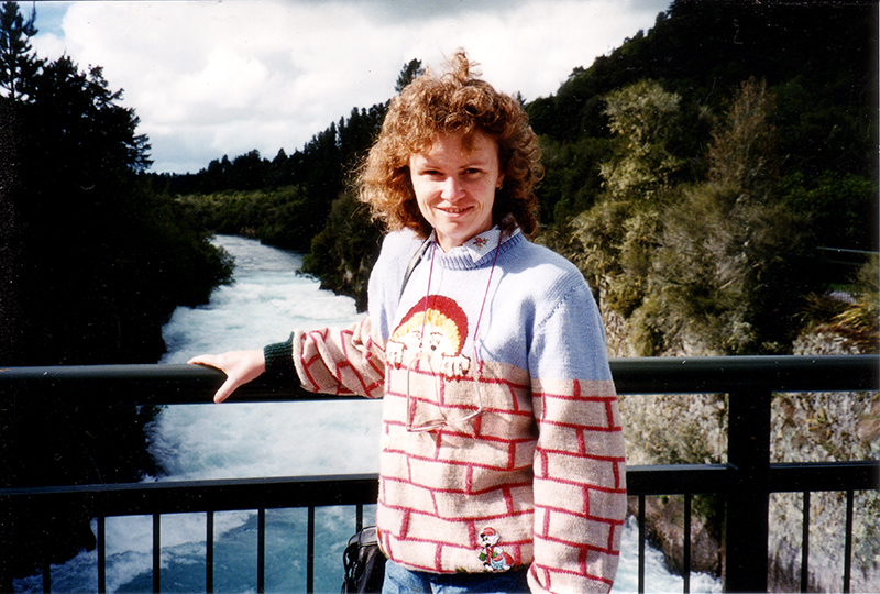 Adrianne in 1994 rediscovering her New Zealand roots.