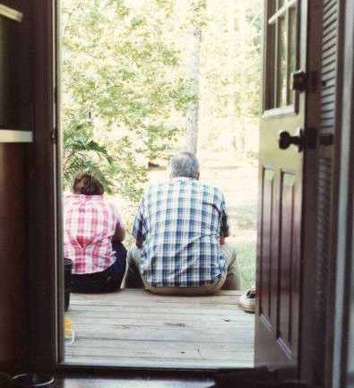 I love this one! My parents sitting out on the back deck one summer evening after dinner. They built the house. :) Love their matching plaid shirts! This is probably the middle '80s. But this shows so much who they are and the kind of home they made.