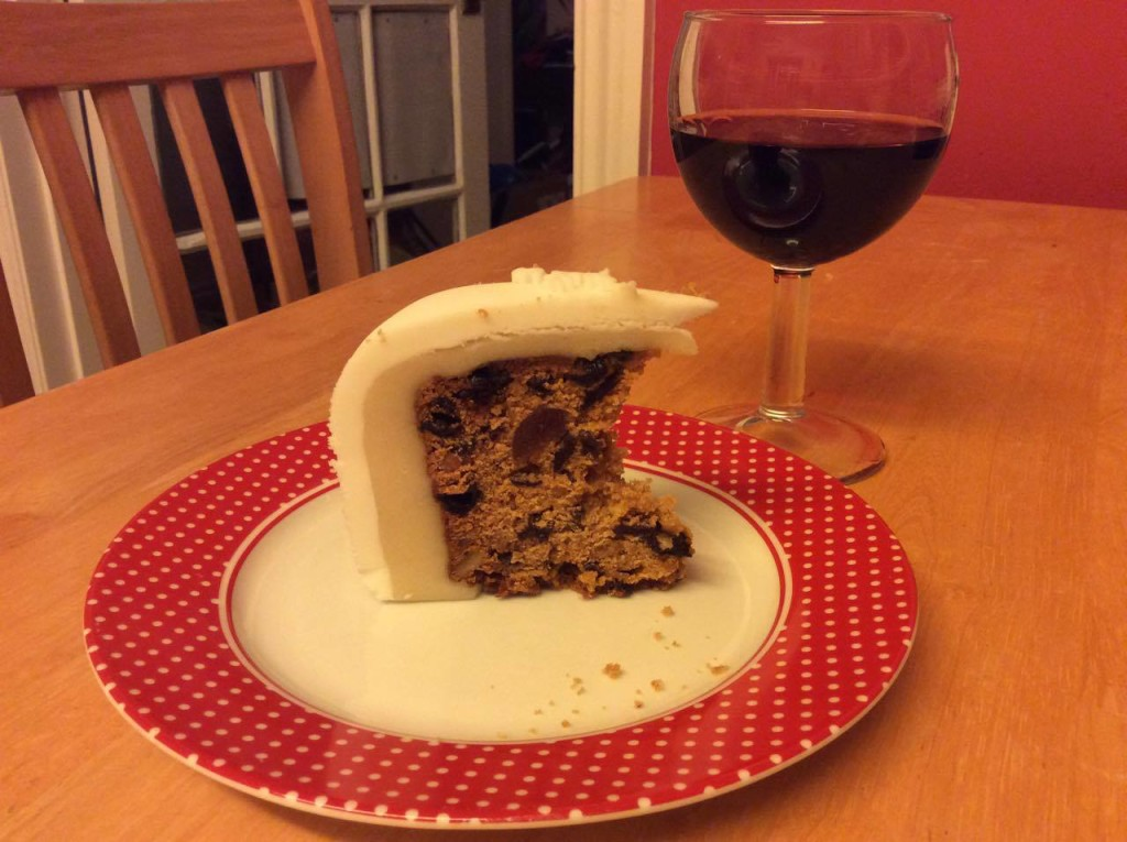 A perfect slice of Dundee cake, made from Grandmama's tin.