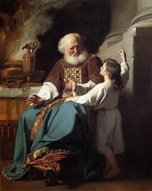 Eli and Sameul, from the well-known story in the Old Testament about Samuel hearing God while in the temple. Painting by John Singleton Copley.