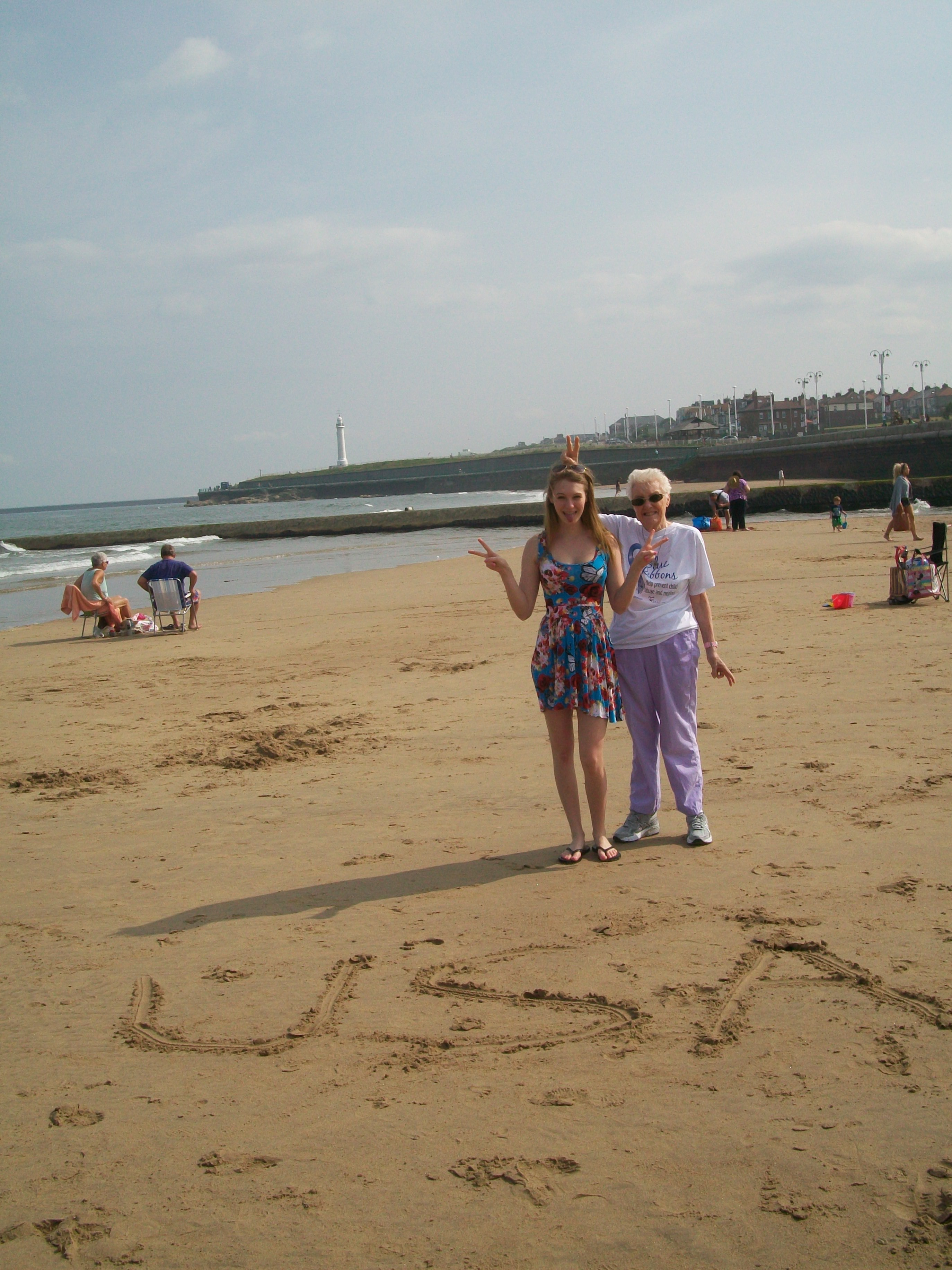 Introducing my American granddaughter to the beach in Sunderland.