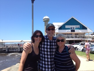 Our daughter Skye, Rick and Bev on the Newcastle Foreshore on Australia Day.
