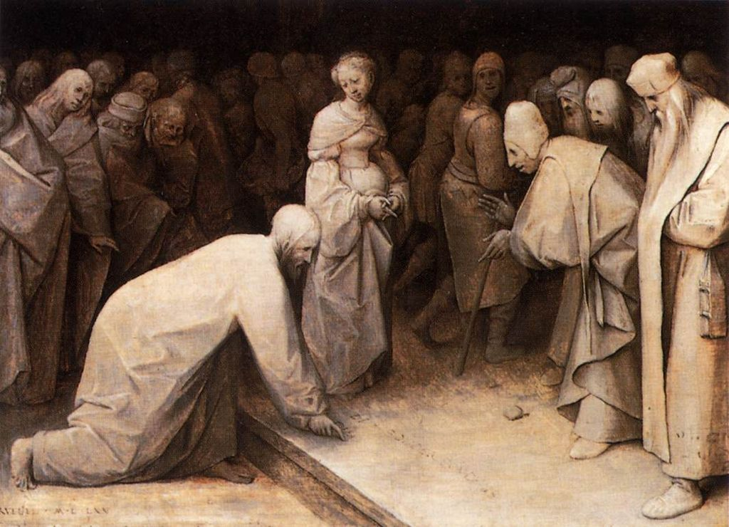 """""""Christ and the Woman Taken in Adultery,"""" Pieter Brueghel the Elder, public domain"""