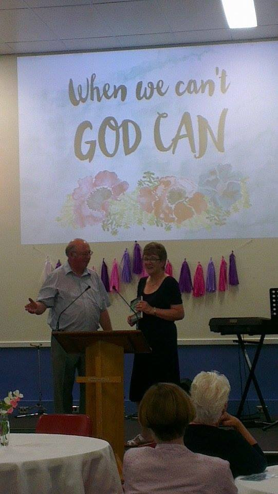 Speaking at a ladies' conference, with my husband Philip helping with the question and answer time.