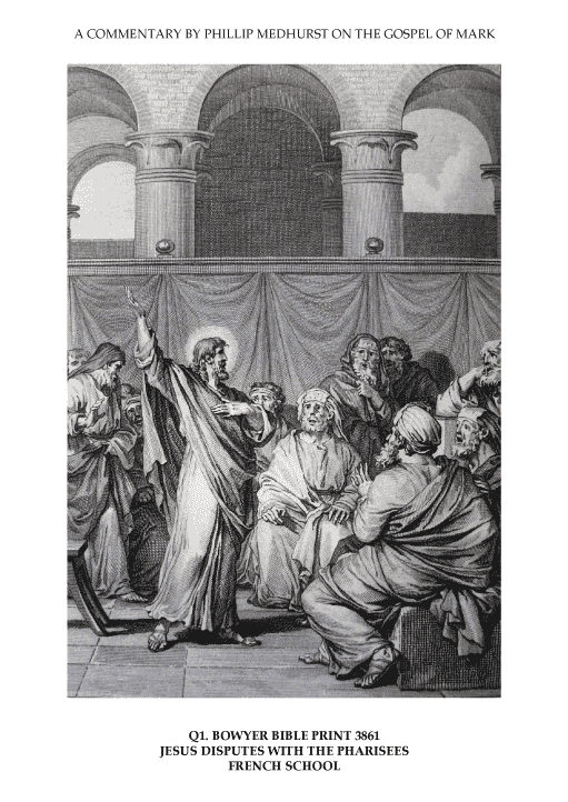 "Jesus disputes with the Pharisees. French School. In the Bowyer Bible in Bolton Museum, England. Print 3861. From ""An Illustrated Commentary on the Gospel of Mark"" by Phillip Medhurst."
