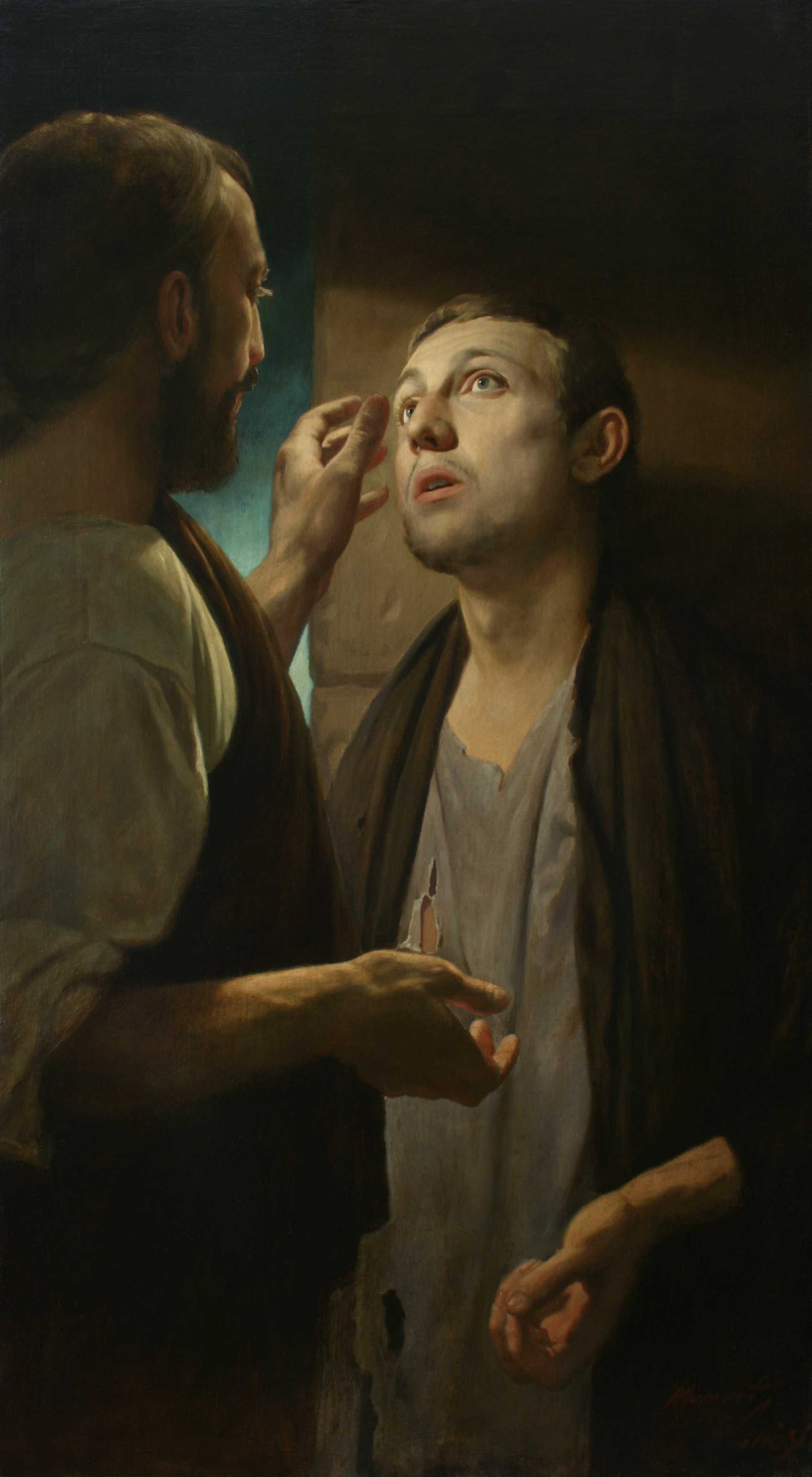 Christ and the pauper. Healing of the blind man. 2009. Canvas, oil. 100 x 55. Artist A.N. Mironov.