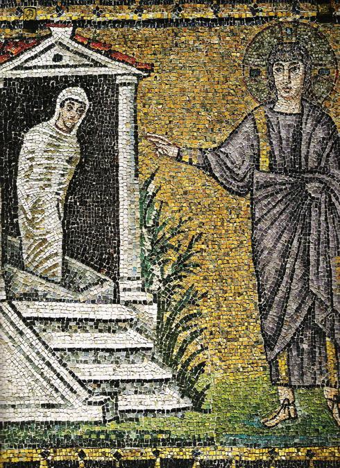Sixth century mosaic of the Raising of Lazarus, church of Sant'Apollinare Nuovo, Ravenna, Italy.