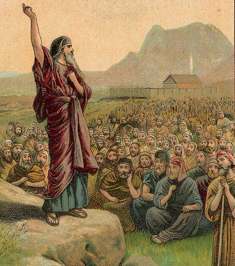 Moses pleading with Israel, illustration from a Bible card published 1907 by the Providence Lithograph Company.