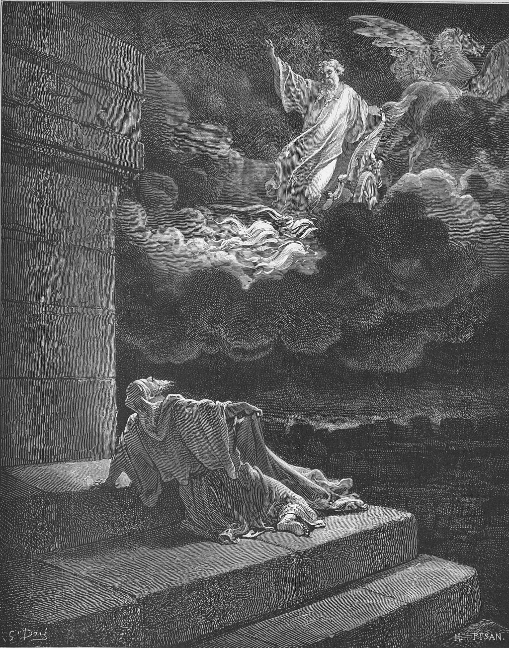 Elijah ascends to heaven in a chariot of fire. Gustave Doré.