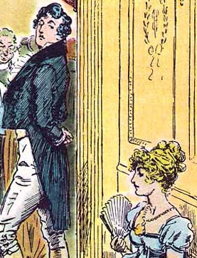 """Mr. Darcy and Elizabeth Bennet by C. E. Brock (1895) """"She is tolerable, but not handsome enough to tempt me."""" (Scans from the book at Pemberley.com); public domain."""