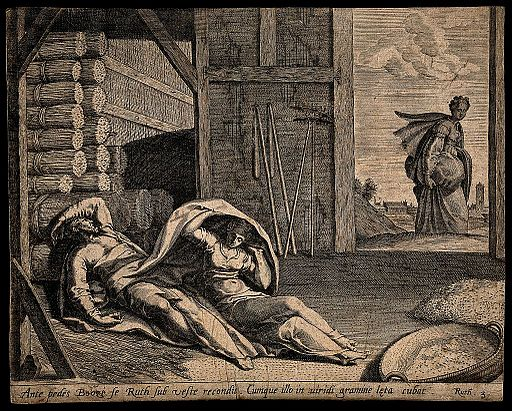 Ruth comes to take shelter under Boaz's cloak. Engraving.