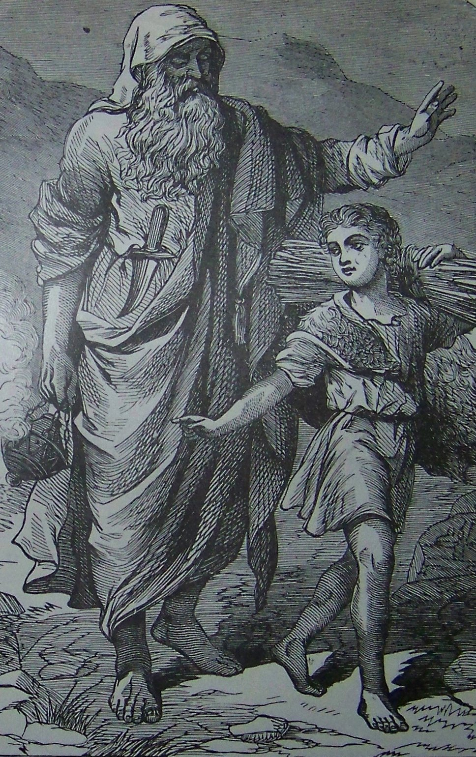 Abraham going up to offer Isaac as a sacrifice, as in Genesis 22, illustration from the 1890 Holman Bible.