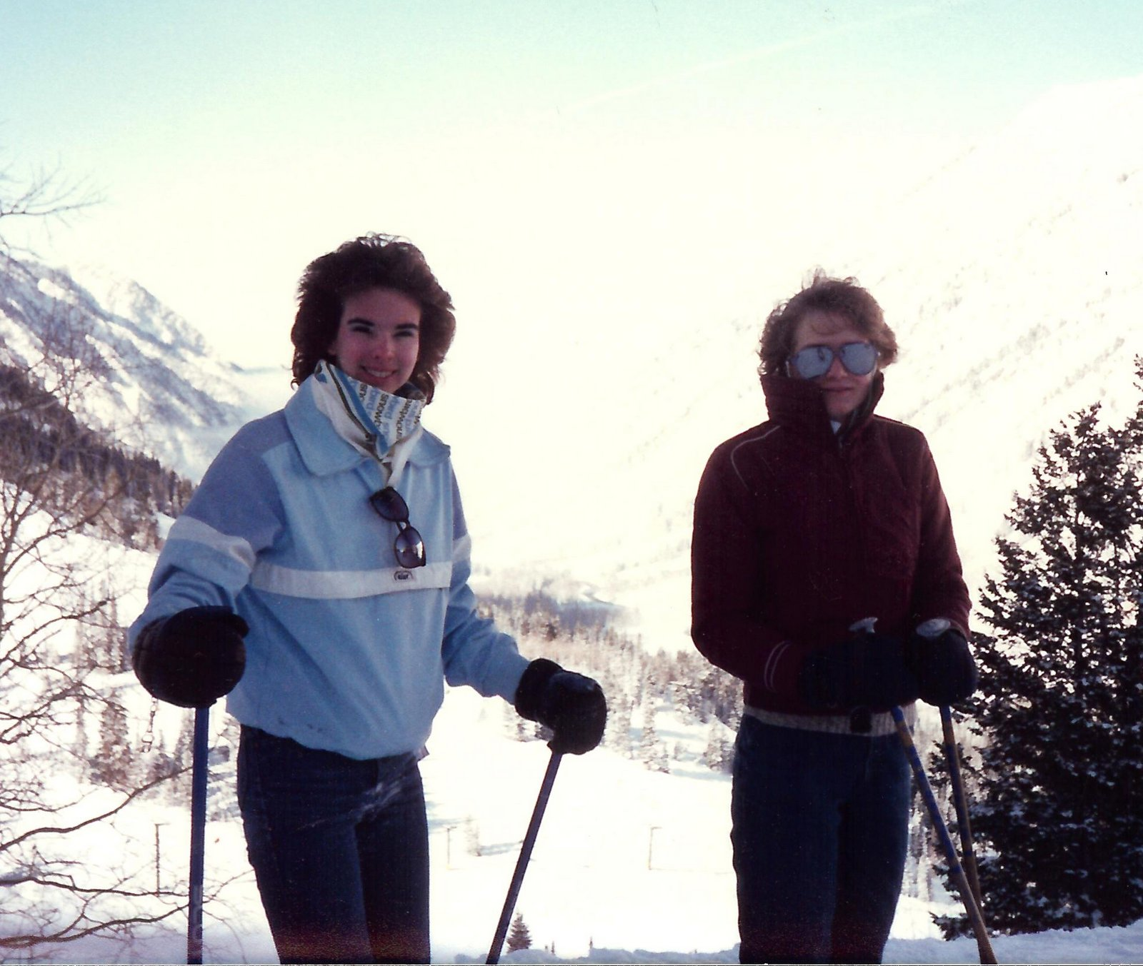 Sue and Kara skiing. Remember those big mirrored sunglasses?